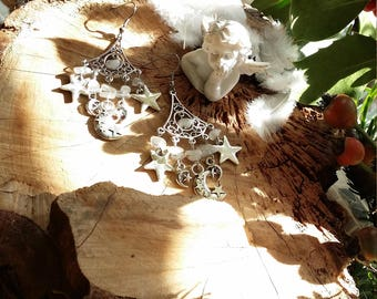 Boucles en pierres de lune avec étoiles et lunes - Par AngelS SignS