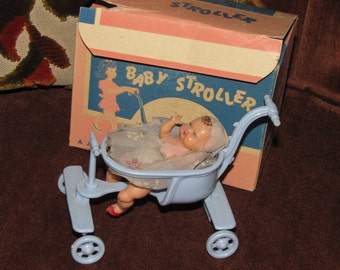 """Vintage Jeryco Stroller """"Just Like Mother's"""" w Original Box Blue w Small Baby Boy Doll in Original Clothes - circa 1950s"""