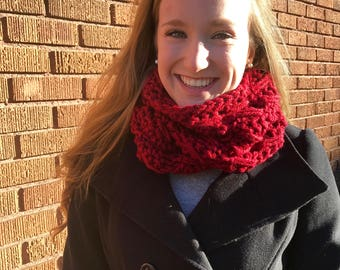 Chunky Oversize Red Infinity Scarf