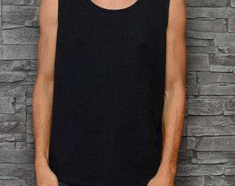 Men's tank top - black woven cotton singlet