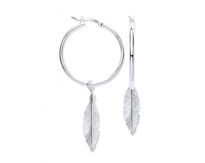 925 Sterling Silver 30mm Hoop Earrings With Suspended Feathers