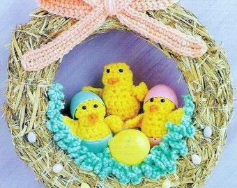 "Vintage Crochet Pattern Easter Chicks and Grass For Baskets or Easter Chicks Wreath PDF Instant Digital Download Easter Door Decor 10"""