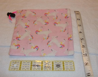 Pink Unicorns Handmade Drawstring Bag