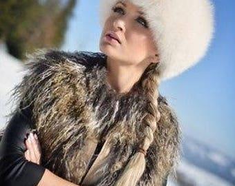 New FOX FUR hat white women warm winter beanie fur hat  headwear luxury gift for women soviet russian  style real natural genuine fox fur