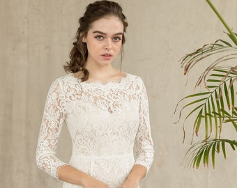 Ivory lace sheath dress with scallop neckline, reception dress, short lace dress  / Madison
