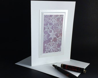 Falling snow on plum embossed blank card, individually handmade: A7, notecards, fine cards, let it snow, winter, SKU BLA7