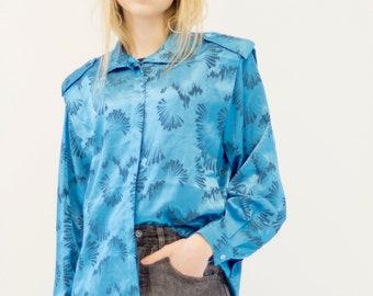 VINTAGE Blue Patterned Button Downs Retro Shirt