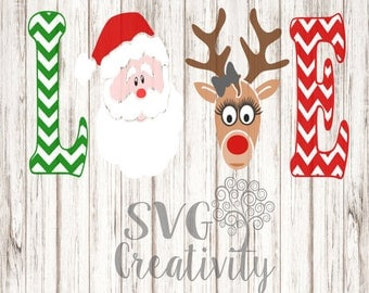 Christmas LOVE SVG, Love with Santa and Reindeer SVG