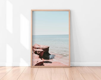 Pastel Wall Art, Beach Wall Art Printable, Beach Wall Decor, Beach Printable Art, Pink Printable Poster, Digital Art Print, Digital Download