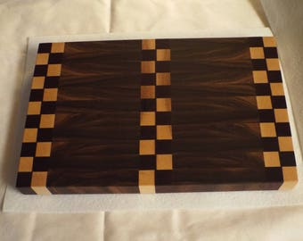 Black Walnut, Maple, Purple Heart Cutting Board End Grain