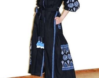 Long Embroidery Dress Vyshyvanka Dress Clothing Gift Dubai Dress Custom Boho Dress Ukrainian Embroidery Custom Bohemian Ukrainian Abaya