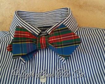Plaid self-tie bow tie