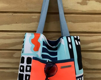 Over the Shoulder Beach Tote Bag - Market Tote - Large Tote - Modern Purse - Architectural Design