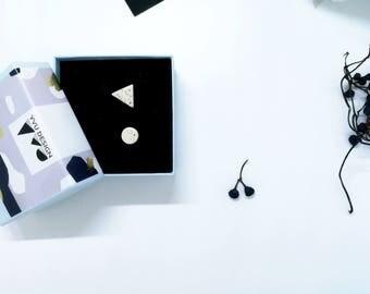 White earrings, light white earrings, circle and triangle earrings, geometric earrings, small white earrings, mix earrings, white studs