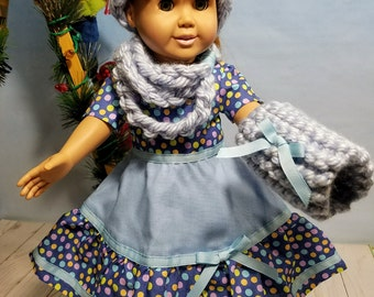 18 Inch Doll Clothes-Party Dress, Messy Bun Hat, Cowl Scarf, Hand Muff
