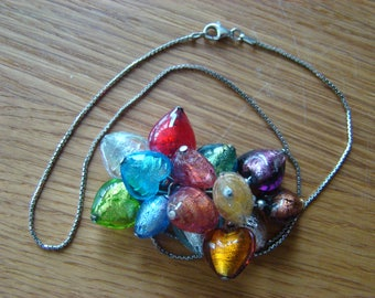 Necklace with multi-colored hearts