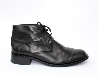 EU 40 - Black vintage shoes - womens size UK 6,5 / USA 9 - 1990s ankle boots for women - 90s lace up boots - black leather shoes Toscania