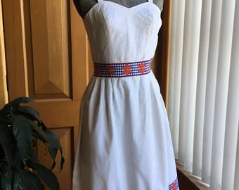 1950's/60's white cotton dress with gingham and floral detail - XS