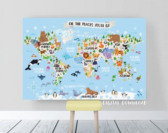 World map nursery etsy kids world map nursery animal world map for kids printable world map poster kids wall map gumiabroncs Image collections