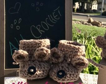 Bear Baby Crochet Booties, Bear Baby Booties, Crochet Baby Booties, Brown Bear Baby Booties Crochet, Bear Baby Shower Booties, Crochet Gift