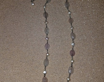fresh water pearl and quartz necklace