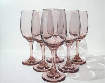 Libbey Glass Pink Purple Wine Glasses, Set of 6 Pink Stemware Goblets, Libbey Premiere Plum Pink, Pink Wine Glasses, Toasting Glasses