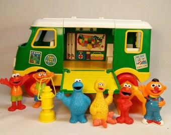 Vintage 1995 Tyco Sesame Street Playset Camper / Van with Elmo, Ernie, Big Bird, and Cookie Monster figures & accessories