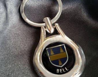 BELL Chrome Key Ring Fob Keyring Scottish Irish Clan Gift Idea