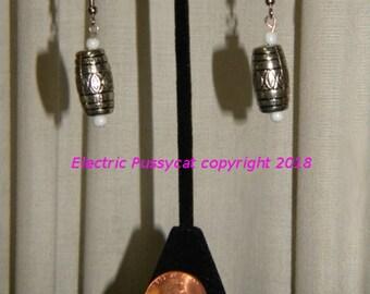 Tribal Earrings, Ethnic Earrings, Boho Earrings, Silver Earrings, White Beads, Drop Earrings, Dangle Earrings