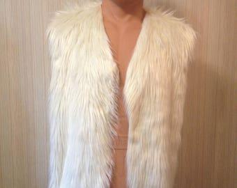 CAVEMAN Vest White L/XL Faux Fur Unlined Men's Costume Furvest BURNINGMAN Style Cosplay Larp Festival WoW Fakefur Fauxfur mails out Now!