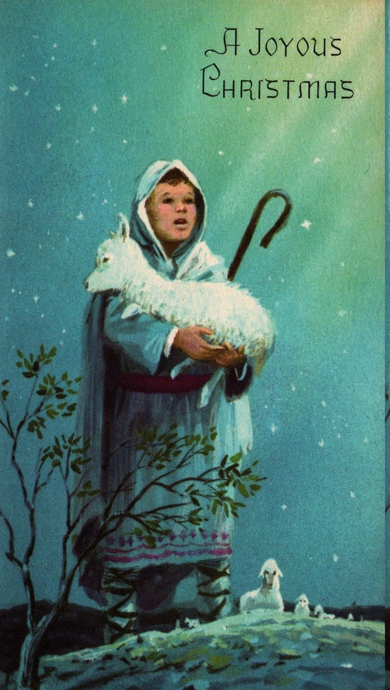 A Joyous Christmas - Shepherd with Sheep - Vintage Christmas Card