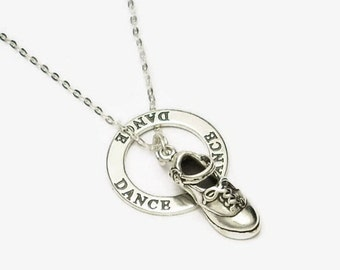 "Irish Dance Hard Shoe Necklace with DANCE Message Ring All Sterling Silver 16"" or 18"" Cable Chain Boxed"