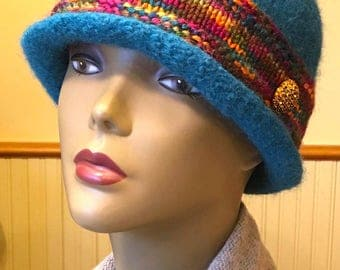 Jewel Tone 100% wool felted hat with handknitted band