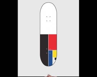 Mondrian Skateboard - Art Print