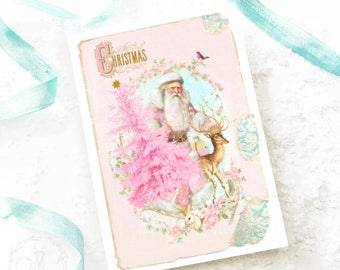 Christmas card, vintage Santa with pink Christmas tree, deer, reindeer, traditional holiday card, blank inside