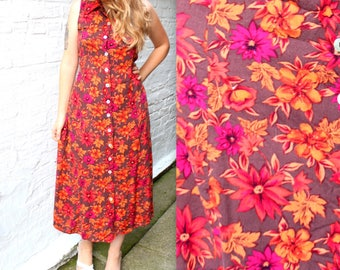 Big City Dress . 90s Autumn Floral Maxi Gown . Medium 90s Frock in Red and Orange . September October . Fall Hues . Aunt Becky