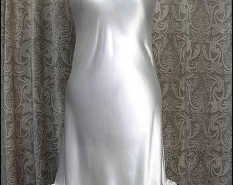 Gleaming White Slip Dress - Bias Cut Satin + Lace Vintage Revamp - Tattered Moonlit Glamour - One of a Kind & Ready to Ship!