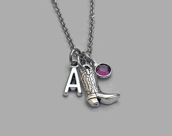 Cowboy Boot Charm Necklace, Cowboy Boot Necklace, Boot Jewelry, Cowgirl Charm, Cowgirl Necklace, Country Charm Necklace, Stainless Steel