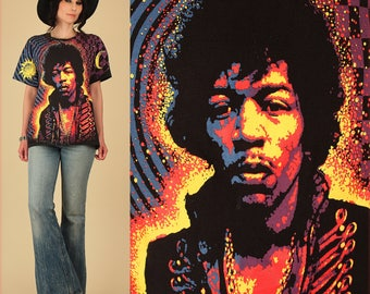 ViNtAgE 80's 90's Jimi Hendrix TShirt // Allover Print Psychadelic Tee // Stars Moon Galaxy Are you Experienced T-Shirt L