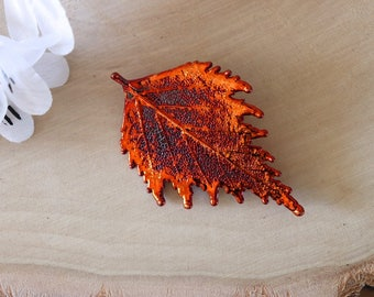 Maple Leaf Brooch Copper, Full Moon Maple Leaf Pin, Hat Pin, Real Leaf, Copper Leaf, Hair Pin, Orangic Pin, Nature, BROOCH59