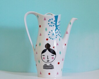 Large screenprinted vintage teapot 'Girl'