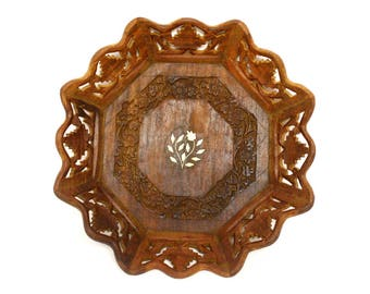 Hand Carved Octagonal Wooden Dish with Inlaid Floral Design