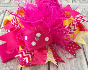 Sunshine Birthday Party,Pink and Yellow Over the Top Bows,Yellow Pink baby headband,Hair bows for 1st Birthday,Sunshine Birthday Headband