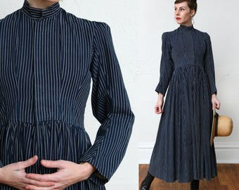 SALE 1800s Pristine Cotton Dress Pinstripe Blue