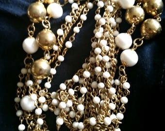 Long Necklace, White & Gold Beaded Chains, vintage costume jewelry 1960s flapper revival