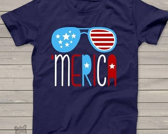 SALE - ships in time 4th America shirt - summertime stars and stripes - 'merica ADULT tshirt - perfect for July 4th festivities - SFJ-002v