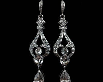 Crystal Bridal Earrings, Victorian Wedding Earrings, Cz Drop Earrings, Silver Earrings, Swarovski Bridal Jewelry, Gift for Her, REGINA