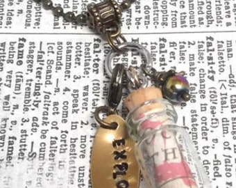 Catlin: Glass Bottle Pendant with Map and Stamped Charm