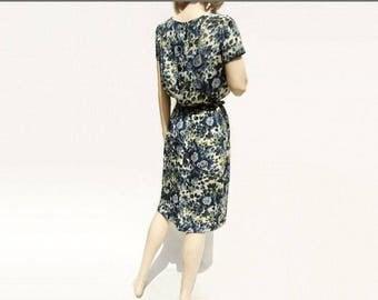 60s Floral Dress 60s Wiggle Dress David Taub Dress Blue Floral Dress Silk Floral Dress 60s Midi Dress Teal Dress Small s