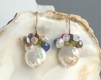 Freshwater Coin White Pearl Hand-crafted Clustered Earrings Hanging on a Fishhook Ear Wires Made of 14K Gold Filled - Beach Wedding - WOW192